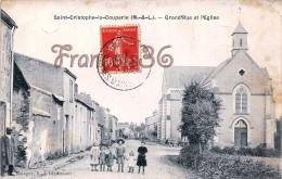 (49) Maine Et Loire - St Saint Christophe La Couperie - Grand Rue Et L'Eglise - 2 SCANS - Andere Gemeenten