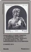 """2014 - ITALIA -  TESSERA FILATELICA  """"PATRIMONIO ARTISTICO CULTURALE ITALIANO"""" 450° ANNIVER. SCOMPARSA DI MICHELANGELO - Tarjetas Filatélicas"""