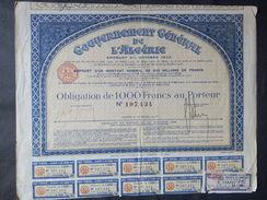 1 Gouvernement Algerie Obligation 100 FR + Coupons - Autres