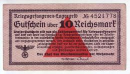 ALLEMAGNE - Billet De 10 Reichsmark. Camps De Prisonniers. Guerre 39-45. - Altri