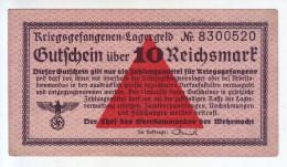 ALLEMAGNE - Billet De 10 Reichsmark. Camps De Prisonniers. Guerre 39-45. - [10] Military Banknotes Issues
