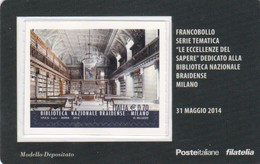 """2014 - ITALIA -  TESSERA FILATELICA  """"ECCELLENZE DEL SAPERE"""" BIBLIOTECA NAZIONALE BRAIDENSE MILANO - 6. 1946-.. Republik"""