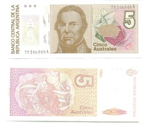Argentina 5 Australes 1985-89 Pick 324.b UNC Ref 114-1 - Argentina