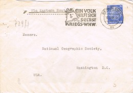 19733. Carta BERLIN (Alemania Reich) 1940. Aerea Via Eastern Route. Slogan Nazi. ZENSUR - Alemania