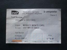 BIGLIETTO TRENO MONACO (MONTE CARLO)  X 2 - Chemins De Fer