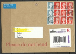 GREAT BRITAIN 2016 Registered Cover Signed For To Estonia Many Elizabeth Stamps - 1952-.... (Elizabeth II)