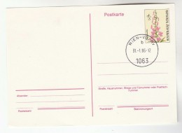 1986  AUSTRIA  4s FLOWER  Postal STATIONERY CARD, FIRST DAY Cover Flowers