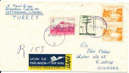 Turkey Registered Cover Sent To Denmark Zeytinburnu 31-8-1963 (bended Cover) - 1921-... Republik