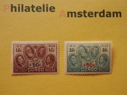 Belgian Congo 1936, KING ALBERT MEMORIAL: Mi 165-66, OBP 192-93, ** - Belgisch-Kongo