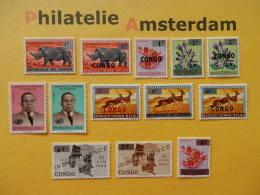 Congo Kinshasa 1964, OVERPRINT NEW VALUES / FAUNA FLORA: Mi 178-90, ** - Democratic Republic Of Congo (1964-71)