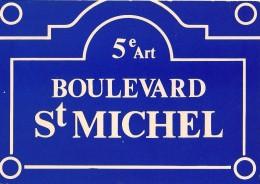 Plaques De Rues De Paris -  Boulevard St Michel - 5e Arr. - Divisé- Non Circulé - Editeur Publistar - - Arrondissement: 05