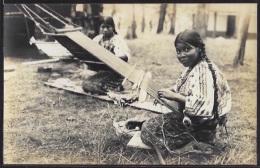 Guatemala - Native Indian Woman Weaving. Real Photo.