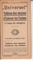 Universel - Tableau Des Moyens D'enlever Les Taches à L'usage Des Ménagères - Non Classés