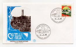 Italia - 1986 - Busta FDC - Lire 650 - Serie Castelli D´Italia - Castello Di Montecchio (Arezzo) - (FDC1241)