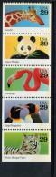 223004552 USA 1992 ** MNH SCOTT 2709a ( 2705 2706 2707 2708 2709 ) Wild Animals TIGER FLAMINGO PENGUINS PANDA GIRAFFE - United States