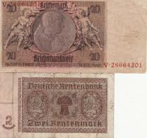 Reichsbanknote-20 Reichsmark+ Zwein Rentenmark. 2 Billets Vendus 5euros En L ´état. Photos Recto-verso - [ 3] 1918-1933 : République De Weimar