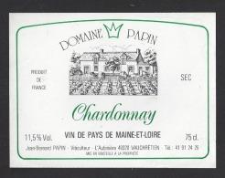 Etiquette De Vin De Pays  De Maine Et Loire - Domaine Papin  -  J.B. Papin à Vauchrétien  (49) - Labels