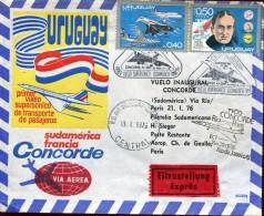 14665 Uruguay, Circuled Cover 1976supersonic Flight South America France,concorde,via Rio De Janeiro,