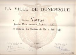 DIPLOME BREVET MEDAILLE VILLE DUNKERQUE COMBATS MAI JUIN 1940 BASTION CALAIS - 1939-45