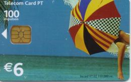 PORTUGAL TELECOM PHONECARD(CHIP) CHAPEU DE SOL-7/02-110000pcs -USED(bx1) - Portugal