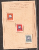 Ned Indie 1941 Vrij Nederland NVPH 290-292 Ongestempeld Op Herdenkingskaart 1941 - Uniek Stukje Geschiedenis - Indes Néerlandaises
