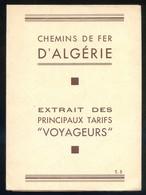 *Chemins De Fer De D'Algerie* Mapa 8 Pags. Desplegables Abierto: 340 X 500 Mms. - Folletos Turísticos