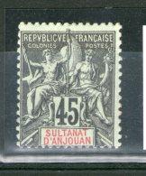 N° 18*_cote 150.00_en Bord De Feuille_retourné Et Collé Verso_2 Scans - Anjouan (1892-1912)