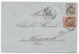 - Lettre - MARNE - REIMS - Cachet à Date Type 17 S/Mixte Cérès N°54 Et Sage N°66 - 1876 - SUP - 1876-1878 Sage (Type I)