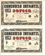 PORTUGAL - BRINQUEDOS - JORNAL SORECA - PAR DE RIFAS - Billets De Loterie