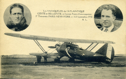 AVIATION - VAINQUEURS ATLANTIQUE - COSTE ET BELLONTE - AVION POINT D´ INTERROGATION - PARIS NEWW-YORK -1930 - Airmen, Fliers
