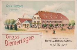 67-DIEMERINGEN-LITHO - HOTEL ET RESTAURANT ZUM BAHNHOF- BELLE CARTE - France