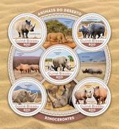 Guinea Bissau 2016, Animals, Rhino, 4val In BF