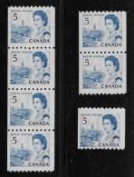 CANADA, 1967, # 468 CENTENNIAL  COIL STAMPS SET:  STRIP Of 4, PAIR & SINGLE, DF DEX MNH  F - Neufs