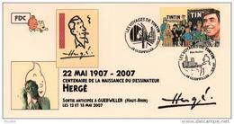 FRANCE Poste 2007 #05 Deux Cachets Premier Jour FDC TINTIN Voyages KUIFJE TIM HERGE GUEBWILLER - Fumetti