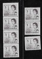 CANADA, 1967, # 466 CENTENNIAL  COIL STAMPS SET:  STRIP Of 4, PAIR & SINGLE, DF DEX MNH  F - Neufs