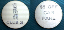 04310 GETTONE JETON TOKEN EROTIC CABINE SERVICE CLUB 21 $5 OFF CAB FARE - Etats-Unis