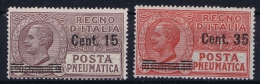 Italy: Posta Pneumatica 1927, Sa 10 + 11  MI Nr 268 + 269  MNH/**/postfrisch/neuf Sans Charniere - Posta Pneumatica