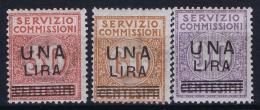 Italy: Servizio Commissioni 1925, Sa 4 - 6  MI Nr 9 - 11  MNH/**/postfrisch/neuf Sans Charniere - 1900-44 Vittorio Emanuele III