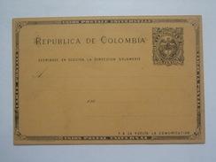 COLOMBIA 1889 2 CENTAVOS STATIONARY CARD UNUSED - Kolumbien