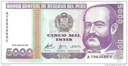 Peru - Pick 137 - 5000 Intis 1988 - Unc - Perù