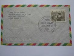 BOLIVIA 1960 AIR MAIL FDC JAIME LAREDO - Bolivia