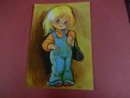 Petite Fille Aux Cheveux Blonds En Cote Et Polo A Rayures + Un Sac  ( Neuve ) - Disegni Infantili