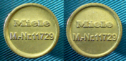 01996 GETTONE JETON TOKEN MACHINE WASHING MIELE T-N 11729 TYPE B THICKER LETTERS AND NUMBERS - Zonder Classificatie