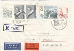 JUGOSLAVIA Torchrelay Registered/Expres Stationery To Germany With Olympic Handcancel Rijeka 31-1-1984 - Winter 1984: Sarajevo