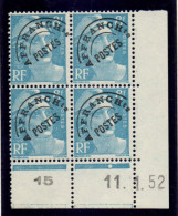 P0080    Préoblitéré 106 - 8f Gandon - Coin Daté 11/1/52 **