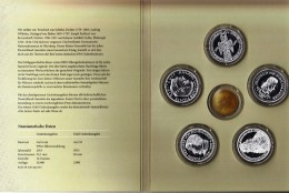 Germany First Five Silver Commemorative Coins / Germanic Museum, Schiller, Markgraf Von Baden, Eichendorff, Fichte - [ 7] 1949-… : RFA - Rep. Fed. Alemana