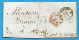 Suisse - Genève Pour Arras (Pas De Calais). Cachet D'entée SUISSE PAR BELLEGARDE. 1862 - Marcophilie (Lettres)