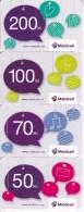 Moldova , Moldavie  Moldau , Set Of Prepaid  Phonecard - Moldcell , 5-70-100-200 Lei , Paper , Used