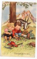 """Illustrateur ???-1958--""""L'occasion Fait Le Larron""""--enfants  Et Chèvre--cpsm 14 X 9 N° 540/3 éd Italienne - Illustrateurs & Photographes"""