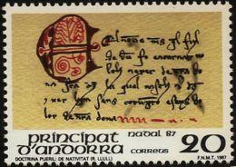 Andorra Spanish Mail 1987 - Literature -  Christmas Issue - Mediaeval Manuscript - 1 Values MNH, Mi 198 - Languages